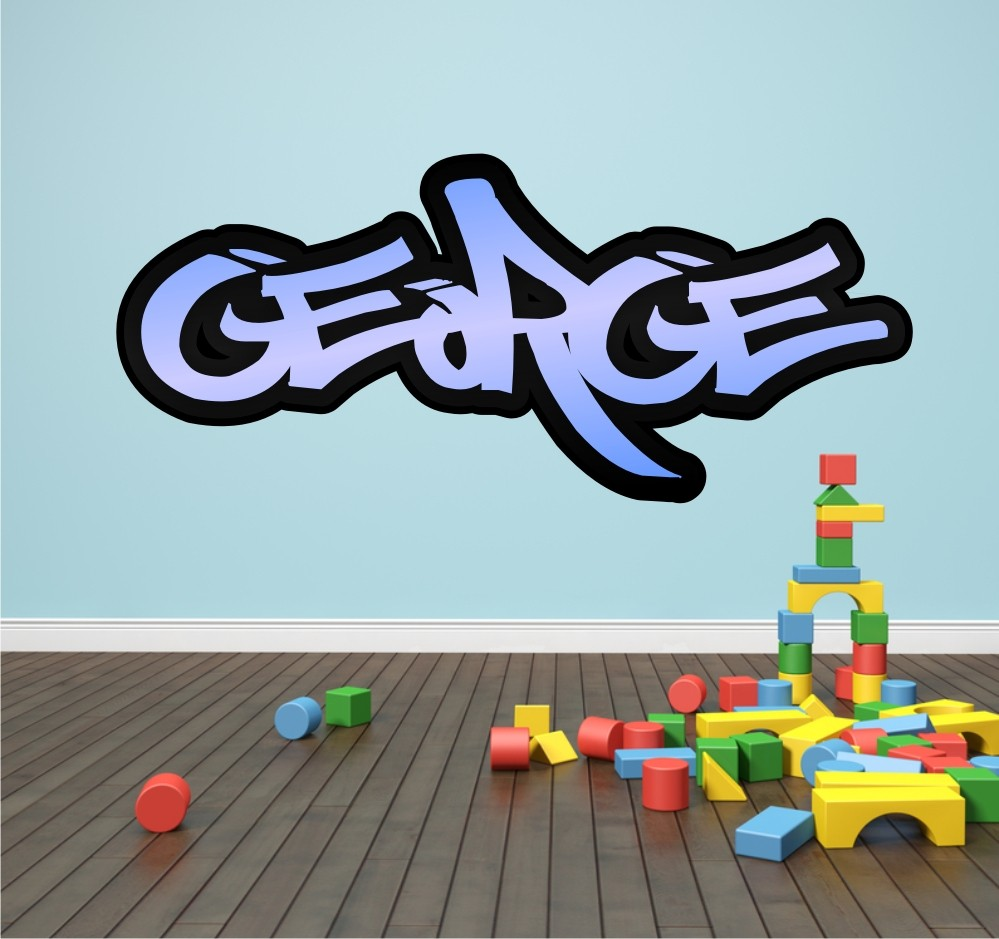 Personalised Graffiti Name Wall Sticker Mural Art Boys