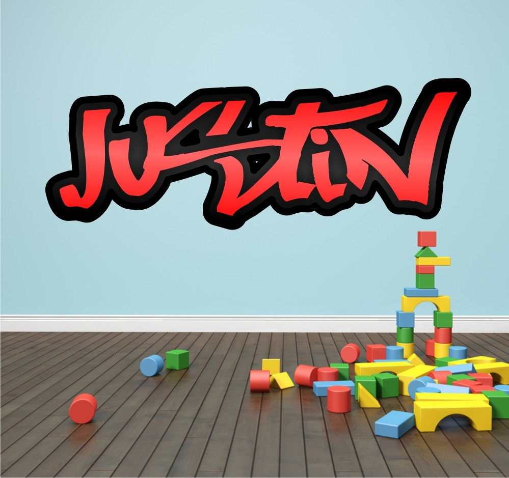 Personalised Graffiti Name Wall Sticker Kids Transfer HUGE