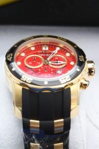 Mens Invicta 6982 Pro Diver Scuba Red Chronograph Rubber Watch New