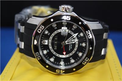 Mens Invicta 6987 Scuba Pro Diver Black Dial Rubber GMT Watch New