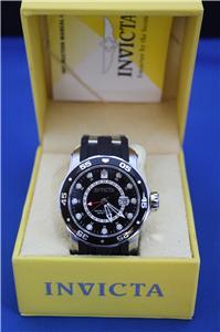 Mens Invicta 6987 Scuba Pro Diver Black Dial Rubber GMT Watch New