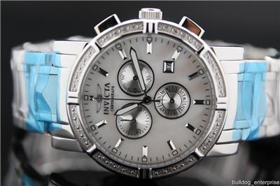 II Diamond MOP Silver Tone Stainless Chronograph Watch New 4741