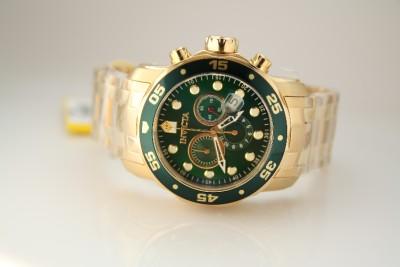 Mens Invicta 0075 Scuba Pro Diver Green Chronograph Gold Plated Watch