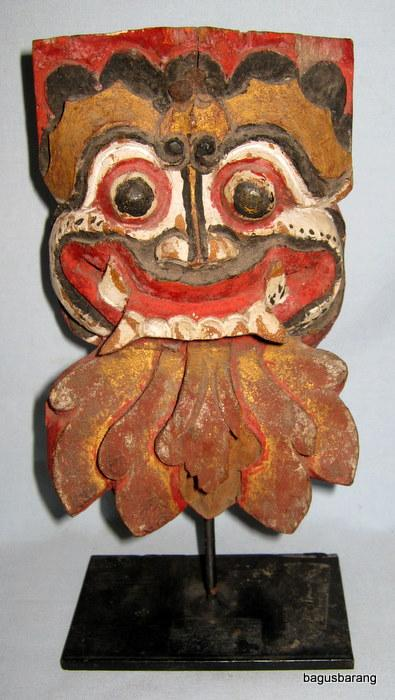 Small-Vintage-Colorful-Bali-Barong-Wood-Carving-c1930