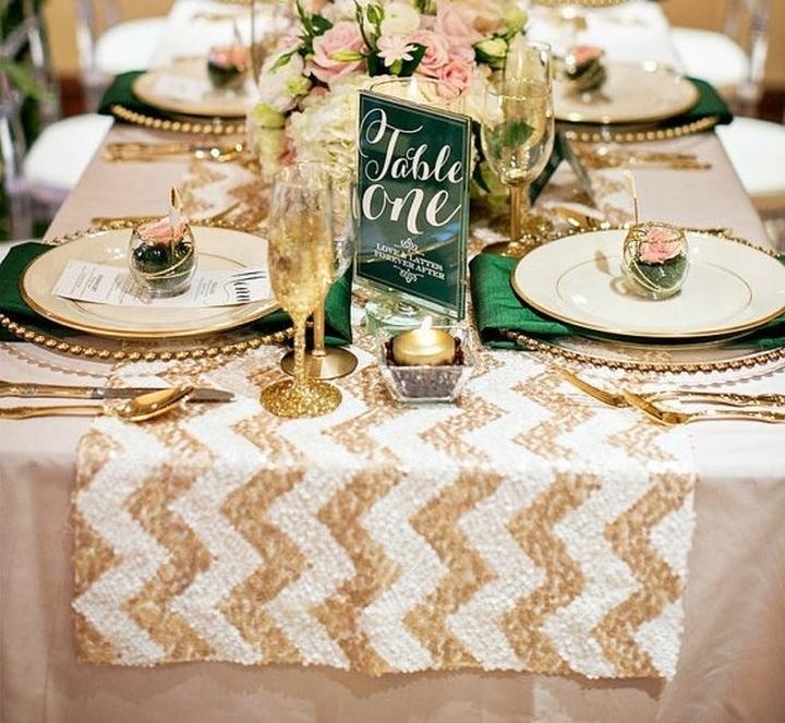 Table  Cloth Wedding Sparkly Gold  Runner table sequin Chevron Sequin White runner wedding  Party 14