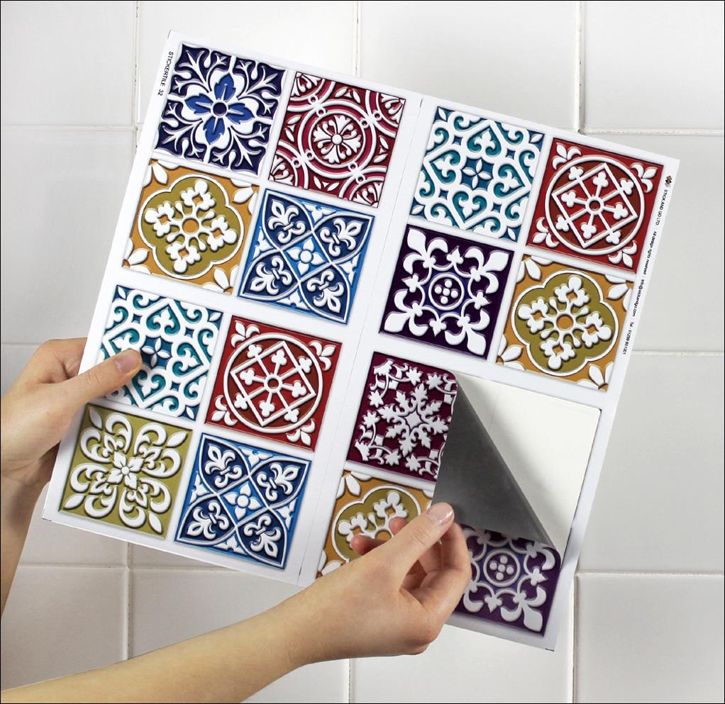 4 tile transfer stickers 6 x 6 moroccan mosaic for - Stickers pour carrelage cuisine ...