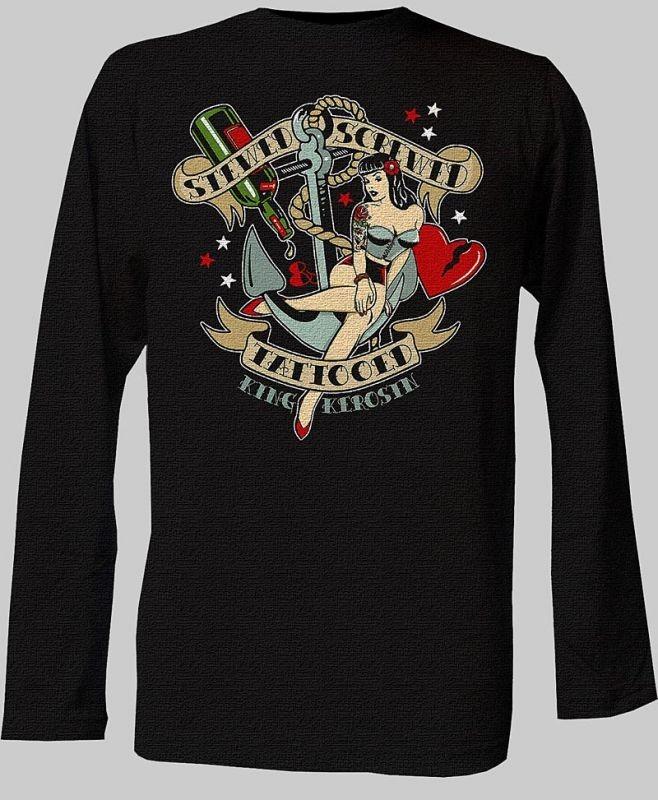 Mens rockabilly t shirt long sleeve black tattoo hotrod for Long sleeve cooling mens shirts