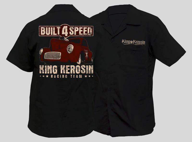 WORK SHIRT BUILT FOR SPEED ROCKABILLY HOTROD KING KEROSIN