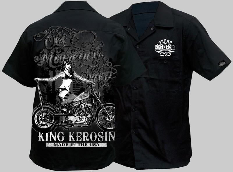 Mens Workshirt Work Shirt Rockabilly King Kerosin