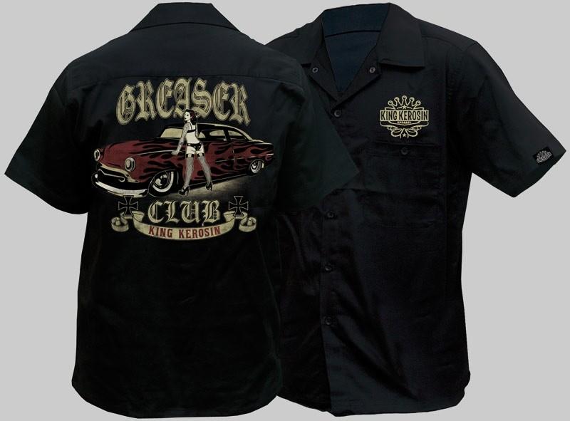 Mens Workshirt Work Shirt Rockabilly King Kerosin Greaser