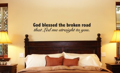 God bless broken road vinyl wall art word art lettering ebay for Bedroom nothing lasts chords