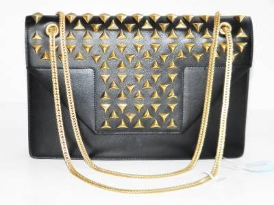 YSL Saint Laurent Black Leather Betty Studded Chain Shoulder Bag ...