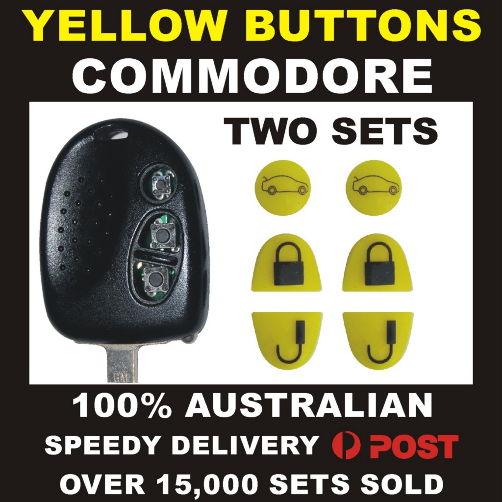YELLOW-KEY-BUTTONS-FIX-TWO-KEYS-FOR-HOLDEN-COMMODORE-VS-VT-VX-VY-VZ-WH-WK-WL