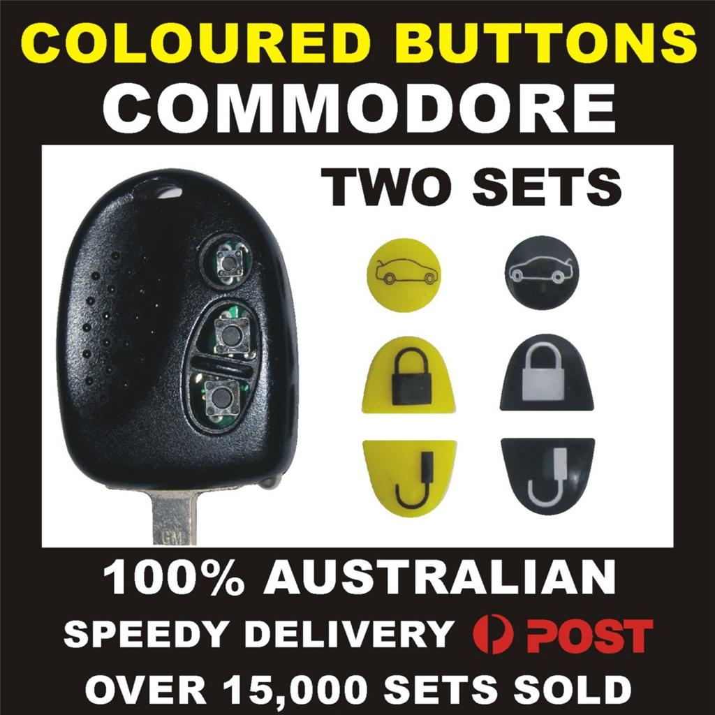YELLOW-BLACK-BUTTONS-FIX-TWO-KEYS-HOLDEN-COMMODORE-VS-VT-VX-VY-VZ-WH-WK-WL