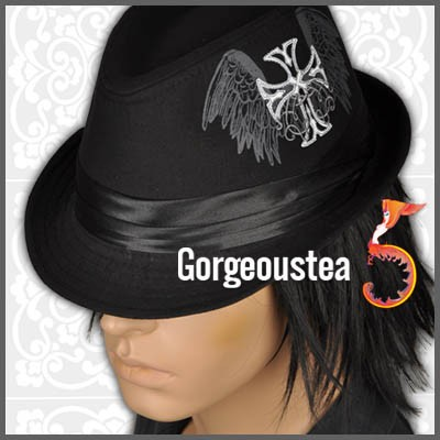 Goth Fashion  on Am196 Punk Goth Skull Men S Fashion Fedora Hat Cap   Ebay