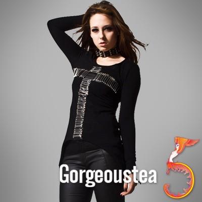 SC256 Black Pin Cross Rock Lolita Fashion T Shirts Top
