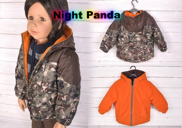 KC044 Brown Orange Red Two sided Kids Army Uniform Hoodie Jacket Coat