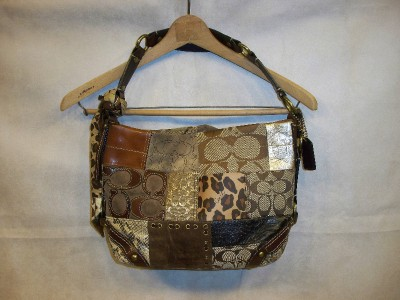 Authentic Coach Carly Patchwork Leather Animal Print Purse G0773 11496