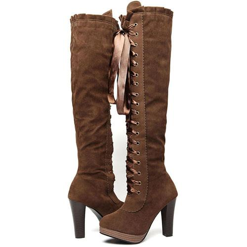 womens lace up the knee thigh high heels