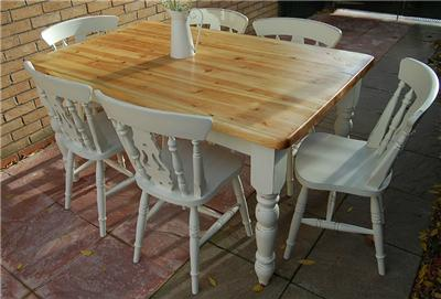 BEAUTIFUL PINE FARMHOUSE SHABBY CHIC DINING TABLE AND 6 CHAIRS LAURA ASHLEY