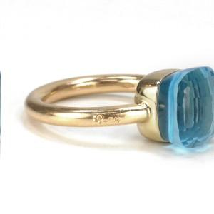 AUTHENTIC POMELLATO NUDO BLUE TOPAZ 18K ROSE GOLD RING SZ 6.5