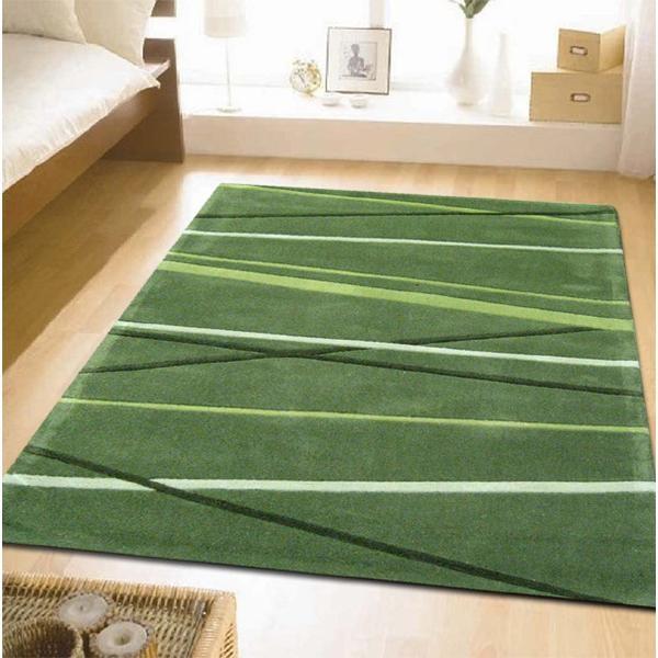 当代装饰条纹地毯绿色280x190cm免费p