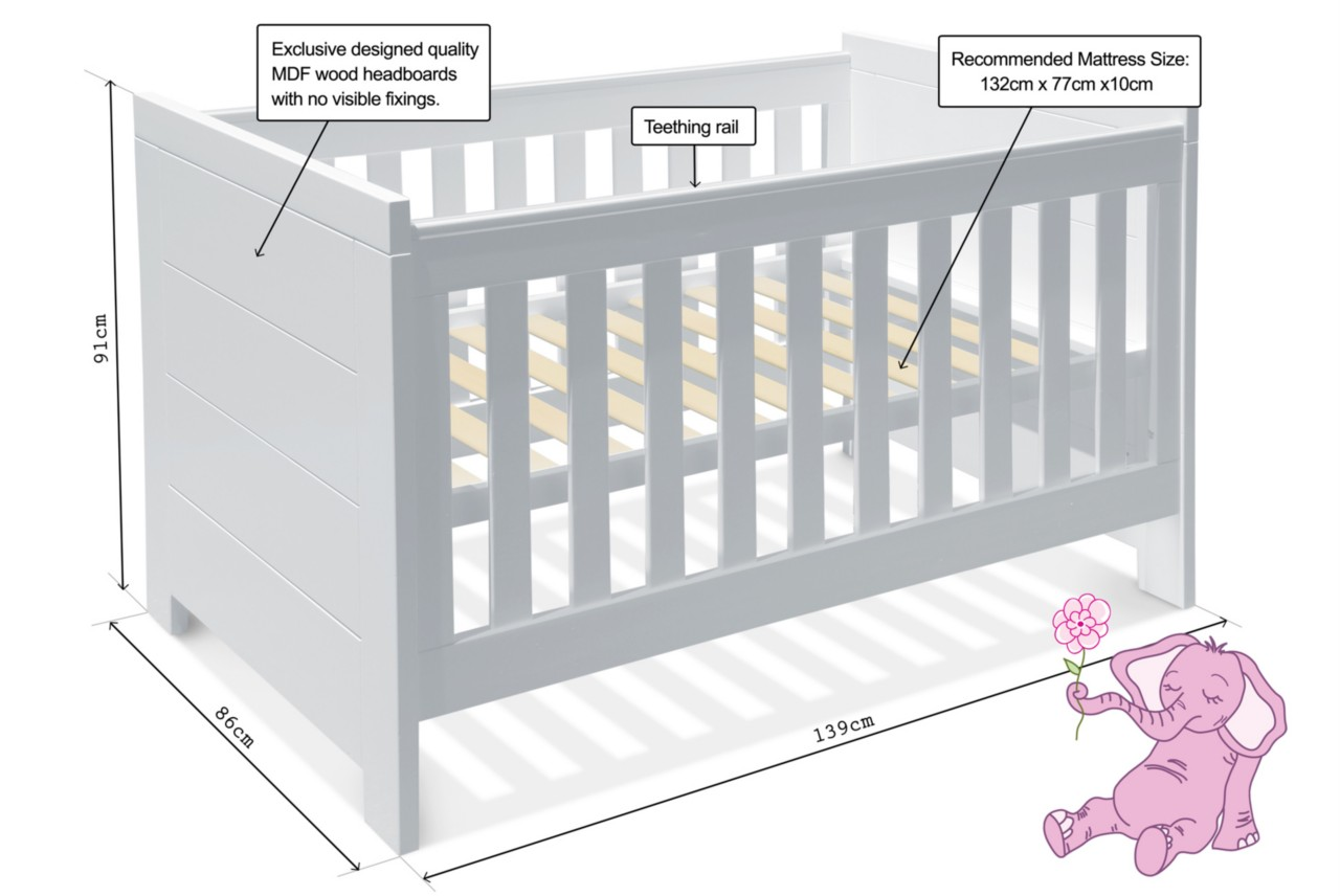 Baby Bed Mesurment : ... In 1 WHITE BABY COT + BASSINET + TODDLER BED + CHANGE TABLE + MATTRESS