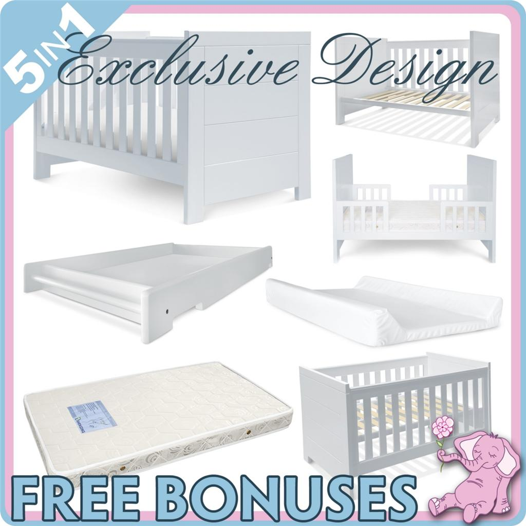 NEW-4-In-1-WHITE-BABY-COT-BASSINET-TODDLER-BED-MATTRESS