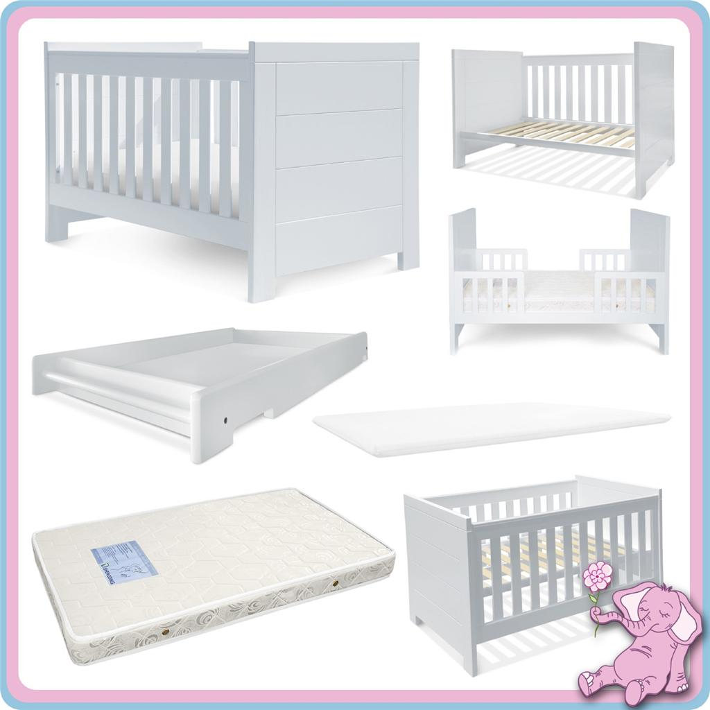 NEW 5 IN 1 White Baby COT Bassinet Toddler BED Change ...