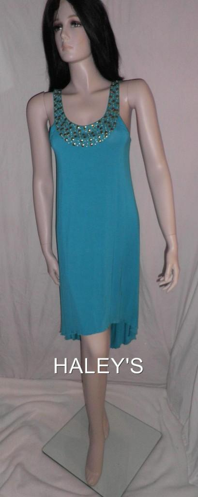 Kensie-Size-Medium-Jersey-Dress-Sexy-Turquoise-Beaded-Summer-New