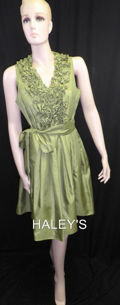New Jessica Howard Cocktail Dress Belted Lime Green Dress Size 12P 16W