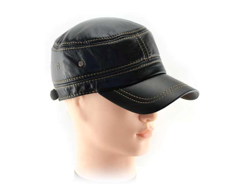 s fashion real cool cow leather flat top style hat cap