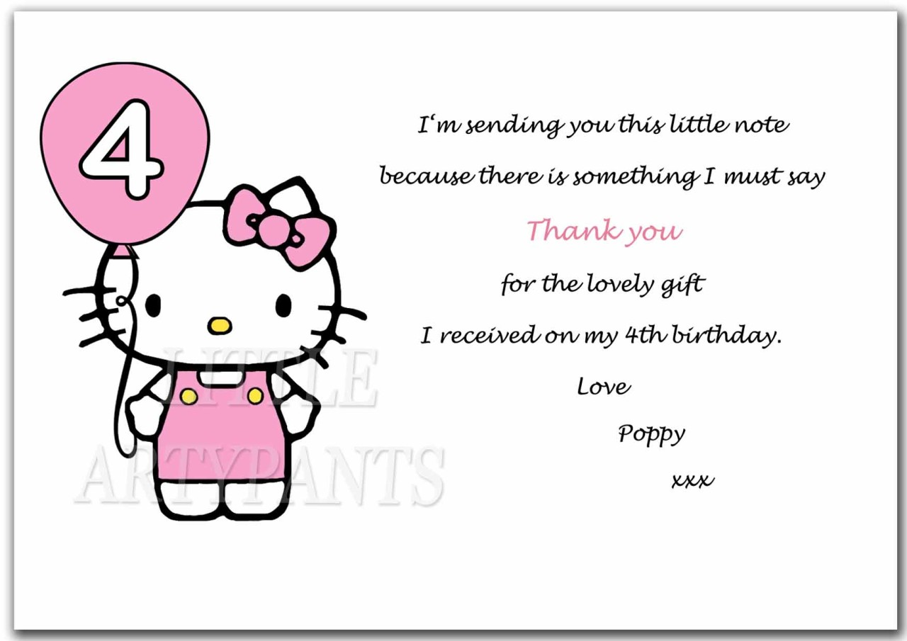Personalised Hello Kitty Thank You Cards 1 2 3 4 5 Any Age With