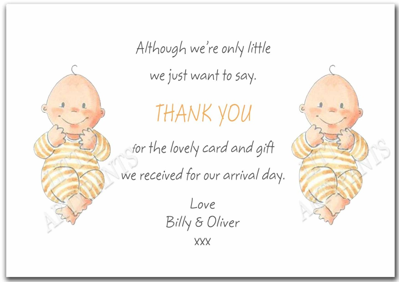 New Baby Gift Thank You Cards : Personalised twins childrens new baby gift thank you