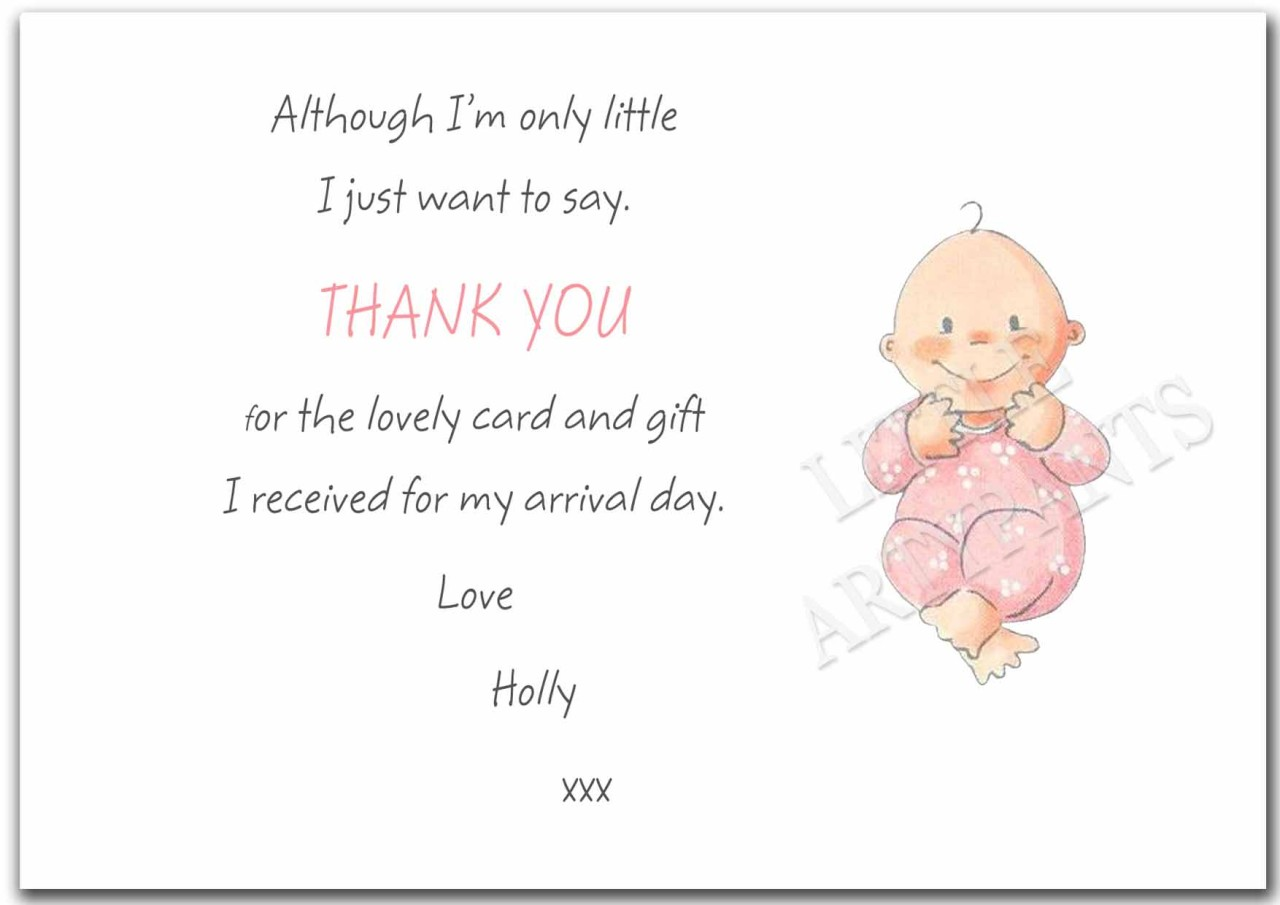 New Baby Gift Thank You Cards : Personalised new baby gift thank you card notes