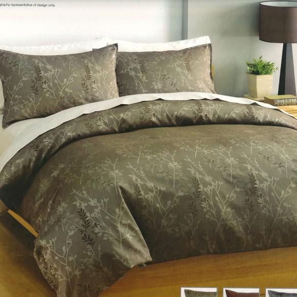 linen house leaves jacquard mint olive green queen quilt doona duvet cover set n ebay. Black Bedroom Furniture Sets. Home Design Ideas