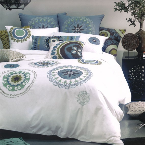 5-Pc-Linen-House-KALYAN-White-Teal-Blue-Queen-Quilt-Doona-Duvet-Cover-Set-EUROS