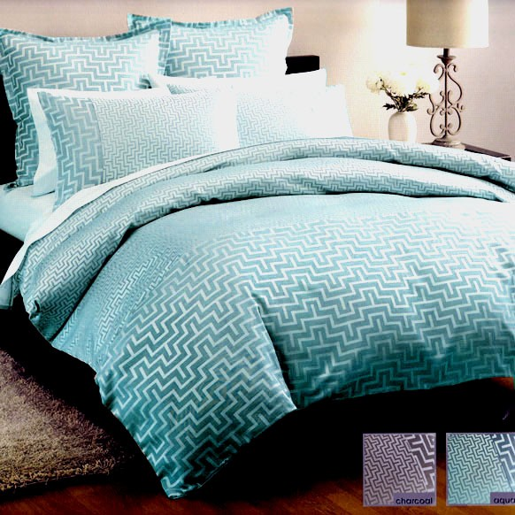 jacquard linen house harrington aqua teal king quilt doona duvet cover set. Black Bedroom Furniture Sets. Home Design Ideas