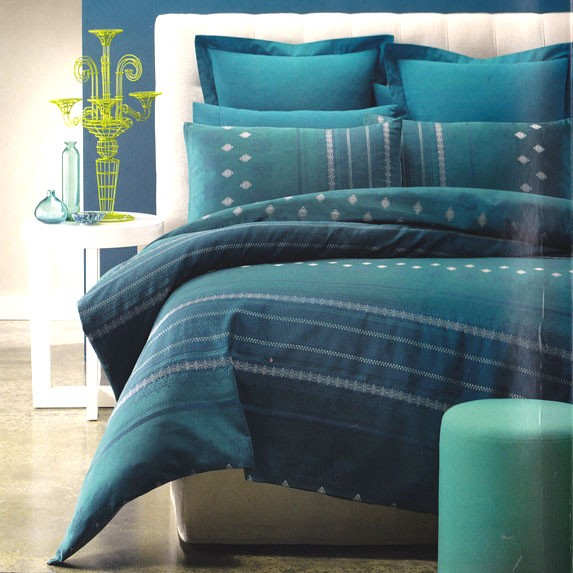 brandon teal turquoise jacquard king quilt doona duvet cover set new ebay. Black Bedroom Furniture Sets. Home Design Ideas