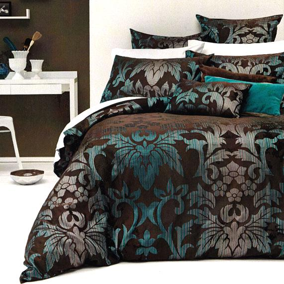 sicilly chocolate brown teal aqua jacquard king quilt doona duvet cover set new ebay. Black Bedroom Furniture Sets. Home Design Ideas