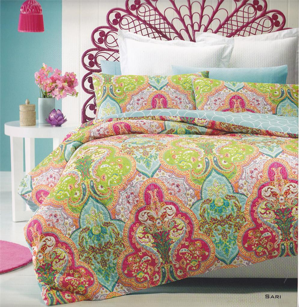 SARI Printed Quilted Effect Aqua Green QUEEN/KING Quilt ...