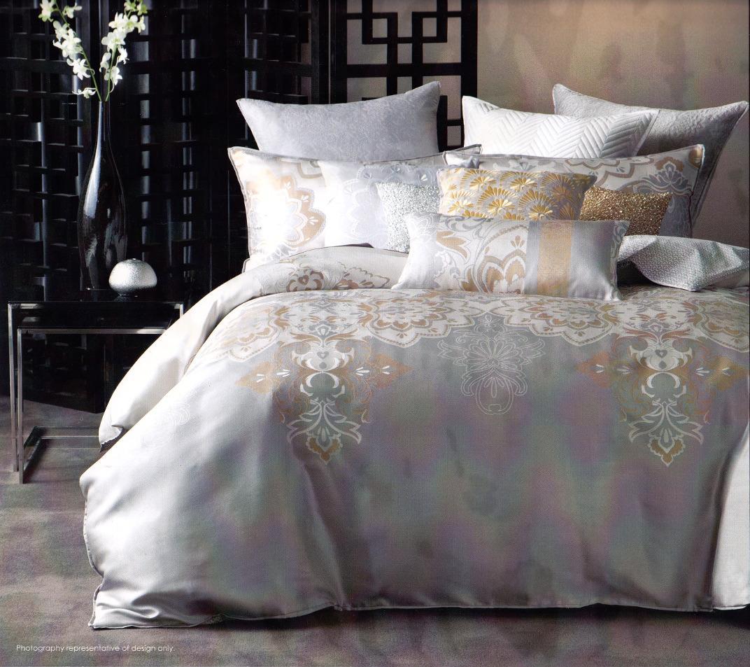 linen house pondichery cream gold silver king quilt doona. Black Bedroom Furniture Sets. Home Design Ideas