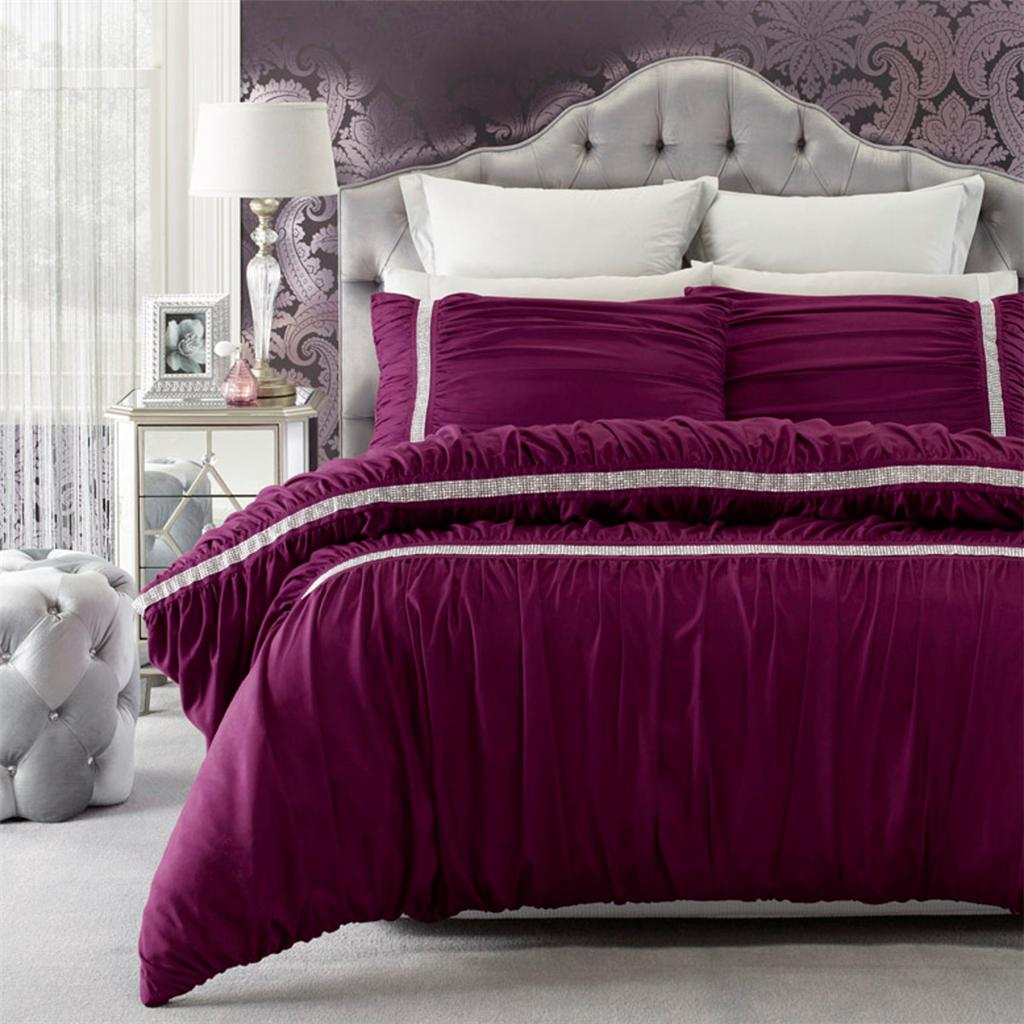 Persia PURPLE Ruched DIAMANTE Soft-Feel QUEEN*KING Quilt