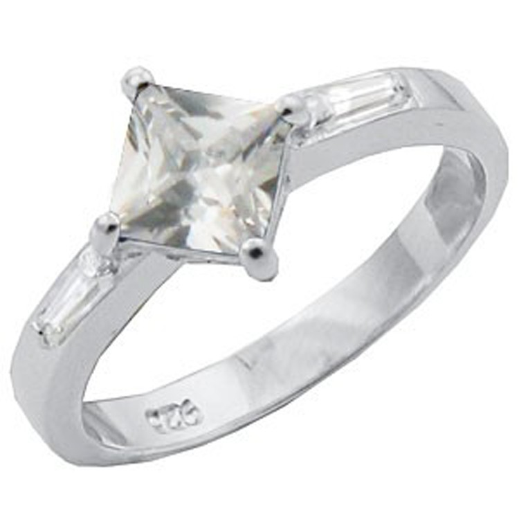 sterling silver princess cut engagement ring 1 8 tcw