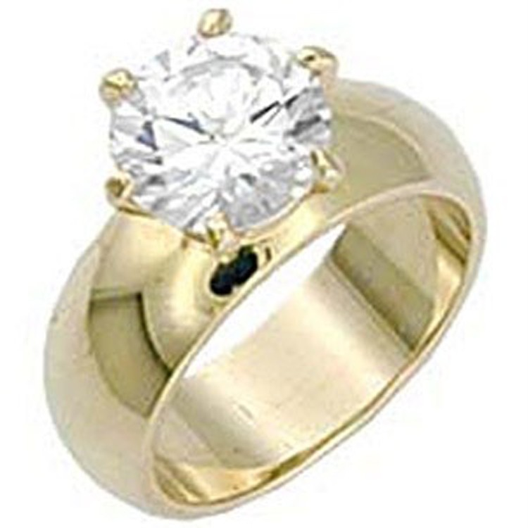 Image is loading Round-Solitaire-Wide-Band-Engagement-Ring-Yellow-Gold-