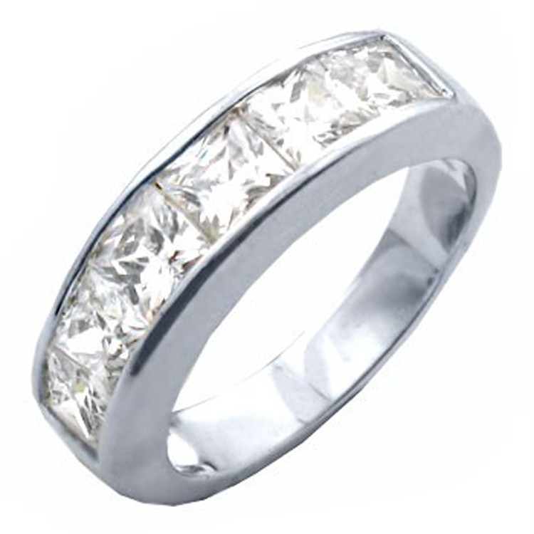 princess cut channel set wedding band ring cubic zirconia