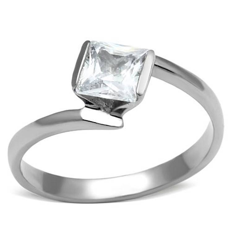 stainless steel princess cut solitaire cubic zirconia