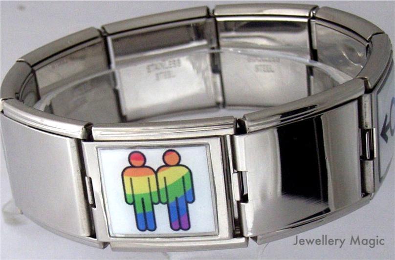 Italian-Charm-Gay-Pride-Male-18mm-Photo-Link-Bracelet
