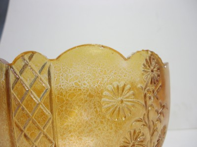 Art Deco Pressed Flowers Carnival Glass Lamp Shade 4 Fitter Extremely