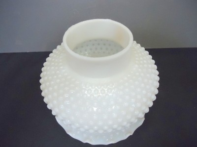 vintage white milk glass hobnail lamp shade with ruffle